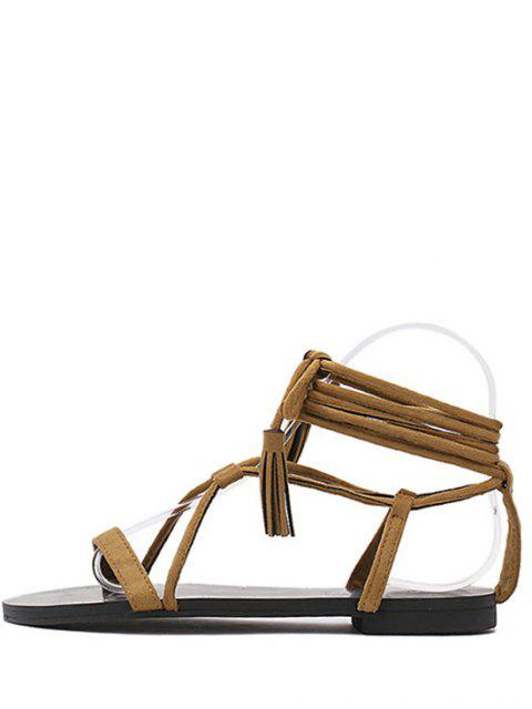 womens Flat Heel Tassel Lace-Up Sandals -   Mobile