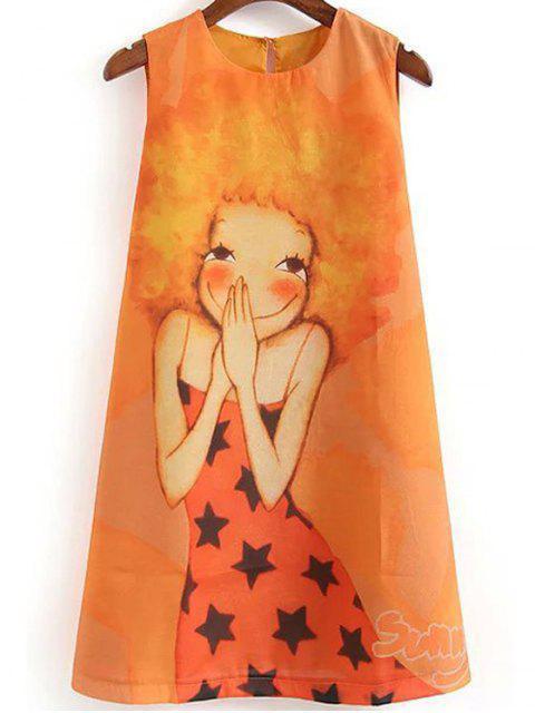 ladies Cartoon Print Round Collar Sleeveless Dress - ORANGE M Mobile
