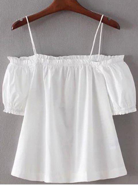 Maillot à épaule dénudée Couleur unie bretelles spaghetti manches lanterne - Blanc S Mobile