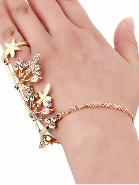 womens Rhinestone Maple Leaf Ring and Wrist Chain - GOLDEN  Mobile