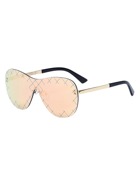 hot Plaid Mesh Mirrored Shield Sunglasses - ROSE GOLD  Mobile