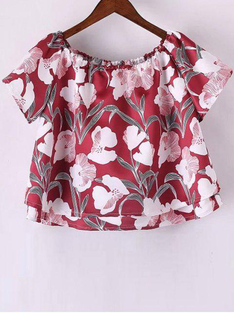 Off The Shoulder imprimé floral T-shirt à manches courtes - Rouge L Mobile