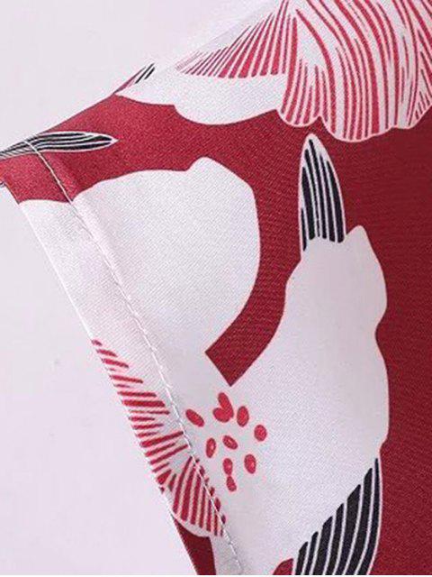 affordable Floral Off The Shoulder Crop Top - RED S Mobile