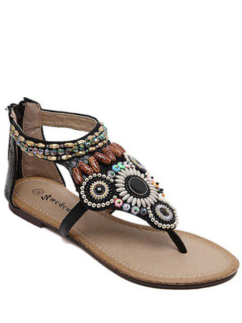 women's Zip Beading Flat Heel Sandals - BLACK 38 Mobile