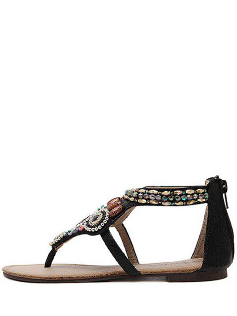 lady Zip Beading Flat Heel Sandals - BLACK 40 Mobile