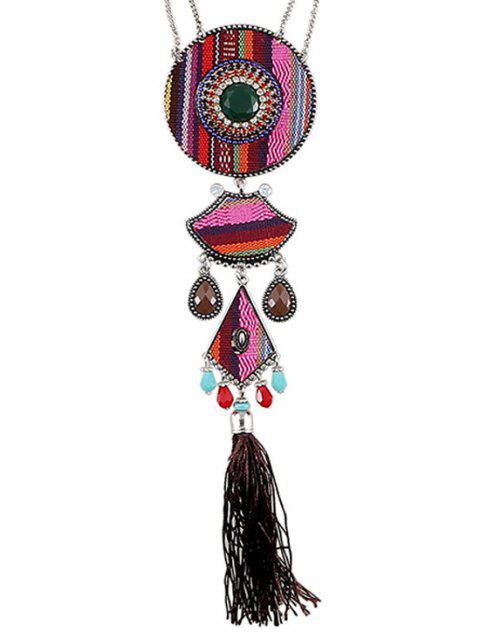 Collar pendiente de la borla del estilo étnico - Rosa  Mobile