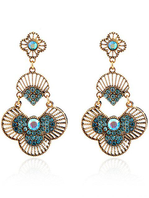 outfit Rhinestone Hand Fan Pendant Earrings - BLUE  Mobile