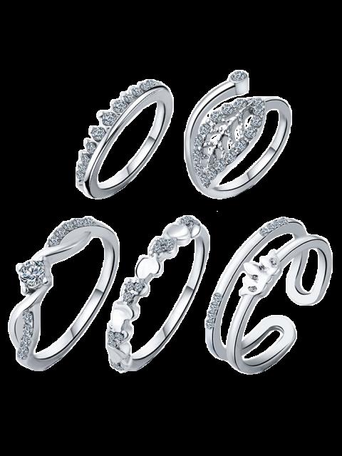 Bagues Motif Couronne et Feuille Bijoux de Mariage - Argent Taille Unique Mobile
