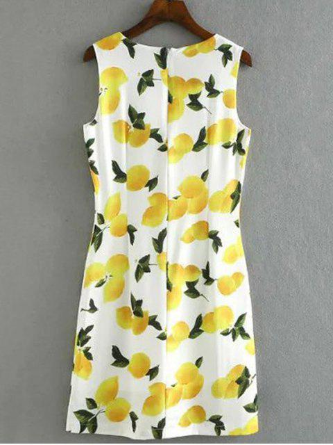 lady Lemon Print Round Collar Sleeveless Dress - WHITE L Mobile