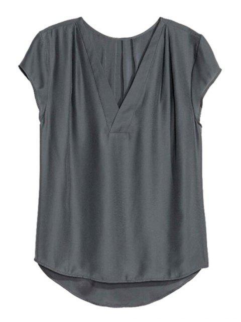 T-shirt couleur pure col V manches courtes - Gris Foncé S Mobile