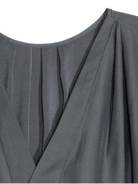 women's Loose Solid Color V Neck Short Sleeve T-Shirt - DEEP GRAY XL Mobile