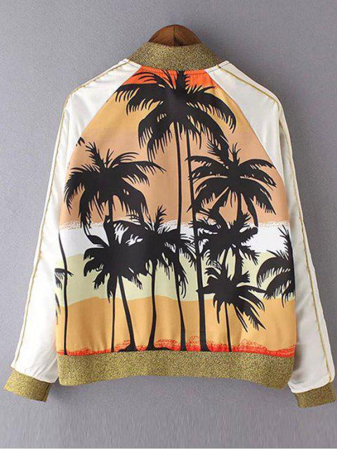 chic Coconut Tree Print Stand Neck Long Sleeve Jacket - YELLOW S Mobile