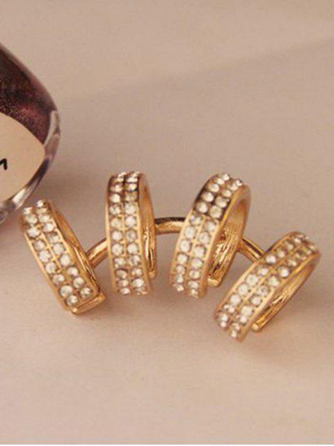 Boucle d'oreille de serrage en forme de cercle avec décoration de diamants artificieux - Or  Mobile