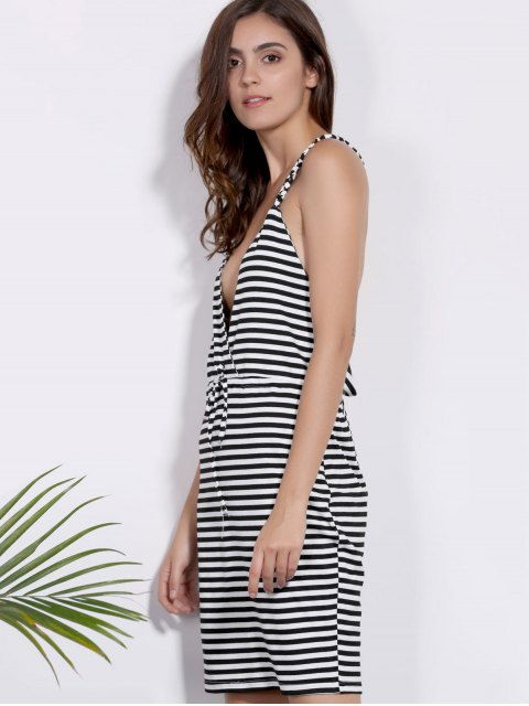 shop Deep V Neck Striped Braided Dress - WHITE AND BLACK S Mobile