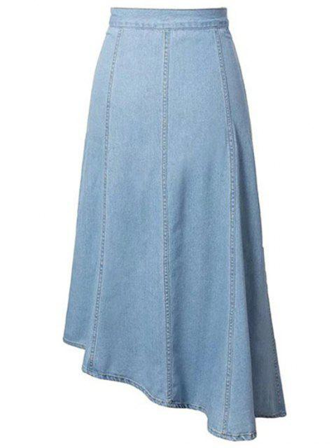buy Hip Pockets Asymmetrical Denim Skirt - LIGHT BLUE M Mobile
