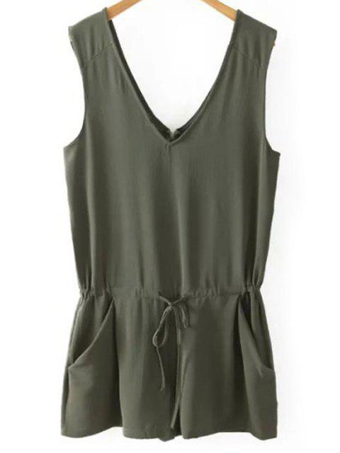 shop Solid Color V Neck Sleeveless Romper - BLACKISH GREEN M Mobile