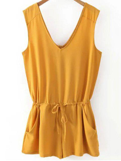 hot Solid Color V Neck Sleeveless Romper - YELLOW M Mobile