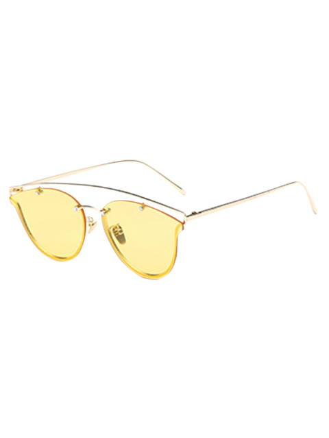 fashion Transparent Lens Crossbar Butterfly Sunglasses - YELLOW  Mobile