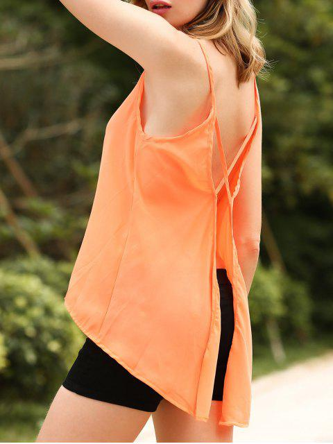 unique Solid Color Cut Out Spaghetti Straps Sleeveless Tank Top - ORANGEPINK XL Mobile