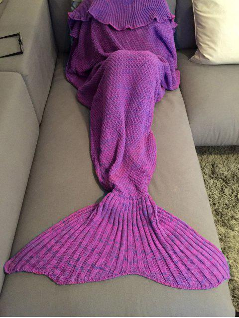 outfits Knitted Mermaid Tail Throw Blanket - PURPLE  Mobile