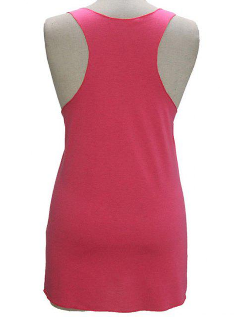 hot Letter Print Scoop Neck Tank Top - PINK S Mobile