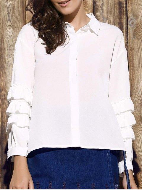 Tiered Rüschen Hülsen-weißes Hemd - Weiß 2XL Mobile
