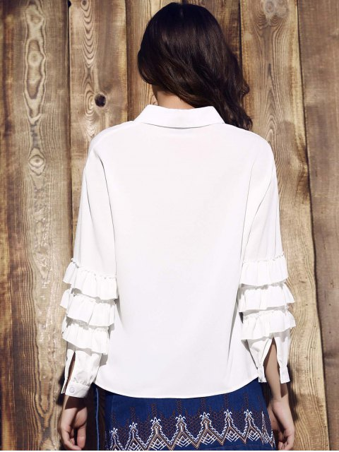 outfits Tiered Ruffle Sleeve White Shirt - WHITE 2XL Mobile