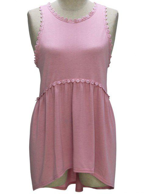 new Loose Fitting Round Collar Sleeveless T-Shirt - PINK S Mobile