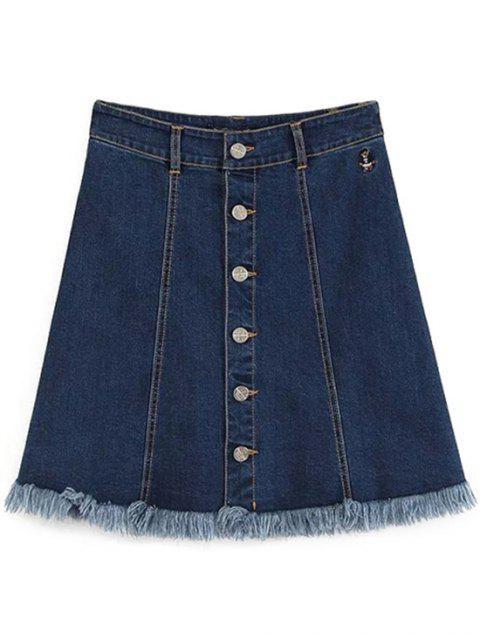 ladies Button-Front Denim Skirt - DEEP BLUE L Mobile
