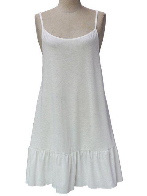 trendy Spaghetti Straps Open Back Solid Color Dress - WHITE L Mobile