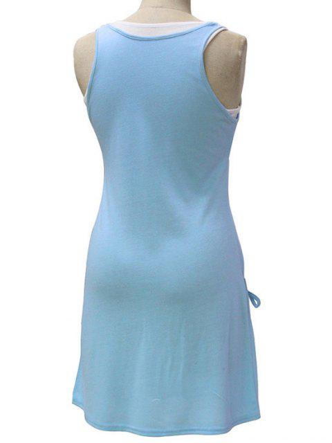 affordable White Crop Tank Top and Solid Color Dress Twinset - LIGHT BLUE M Mobile