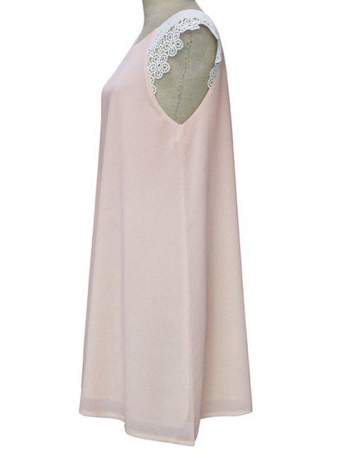 unique Sleeveless Round Collar Lace Spliced Dress - LIGHT PINK XL Mobile