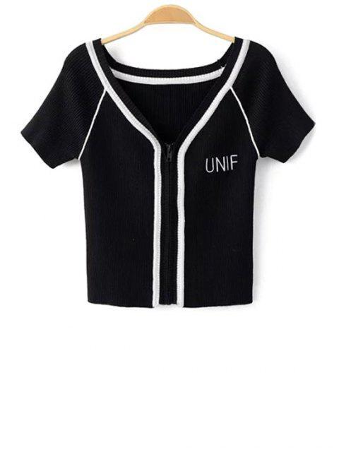 Farbblock V-Ausschnitt Kurzarm Geerntetes T-Shirt - Schwarz M Mobile