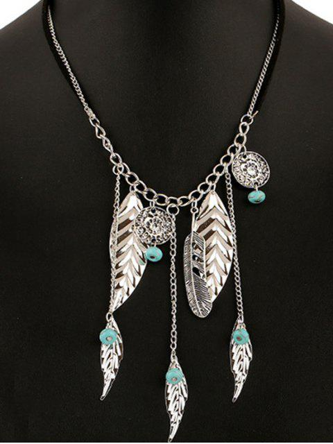 buy Feathers Bead Leaves Pendant Necklace - SILVER  Mobile