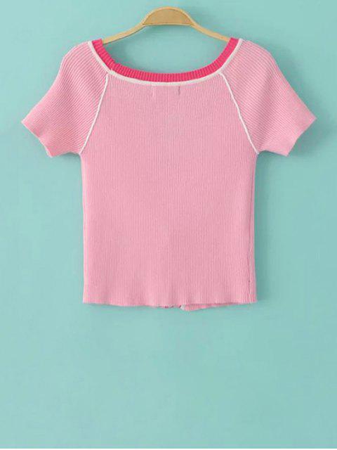 best Color Block V Neck Short Sleeve Cropped T-Shirt - PINK M Mobile