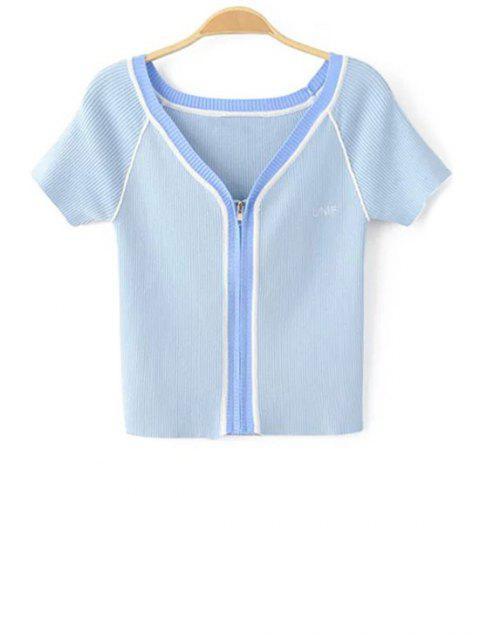 women's Color Block V Neck Short Sleeve Cropped T-Shirt - BLUE S Mobile