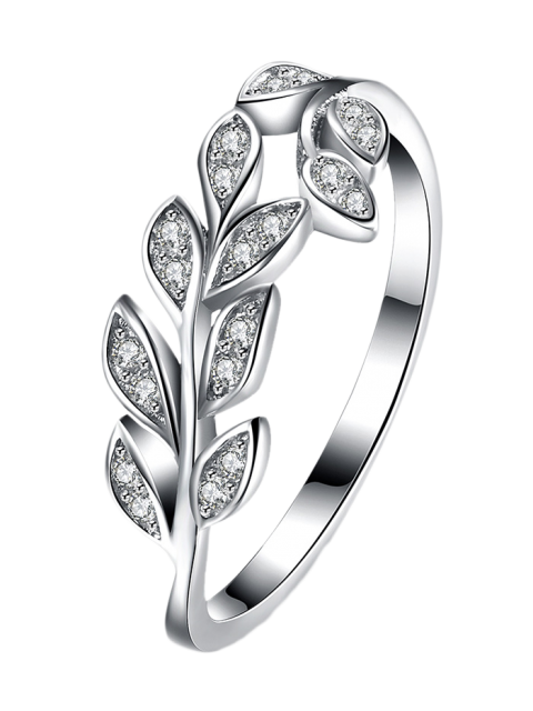 fashion Leaf S925 Diamond Ring -   Mobile