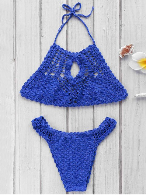 affordable Blue Crochet High Neck Bikini Set - BLUE ONE SIZE(FIT SIZE XS TO M) Mobile