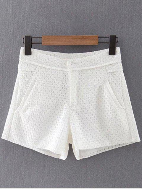 lady Lace Solid Color Pockets Shorts - WHITE S Mobile