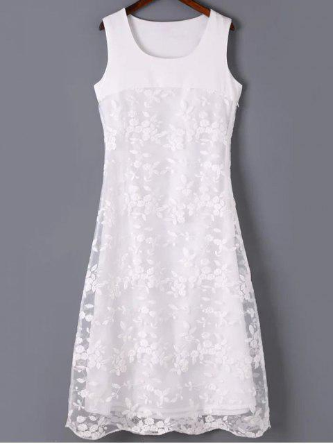 hot Organza Spliced Round Neck Sleeveless Embroidery Dress - WHITE M Mobile