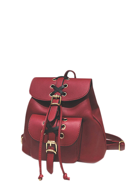 women's Buckles Eyelet Criss-Cross PU Leather Backpack -   Mobile