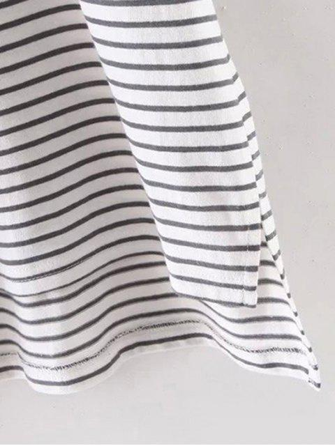 shops Striped Round Neck Half Sleeve High Low Hem T-Shirt - WHITE S Mobile