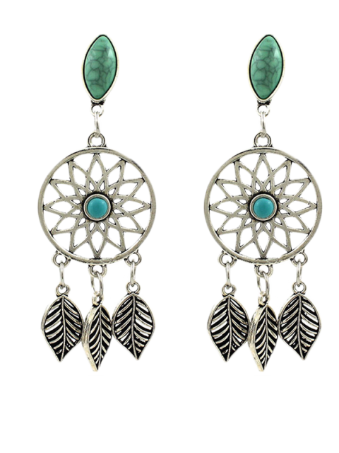 outfits Faux Turquoise Leaves Bohemian Earrings - SILVER  Mobile