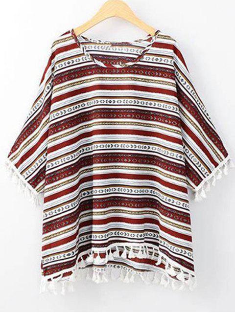 T-shirt à col rond et bas à manches 3/4 imprimé de motif ethnique - Rouge Taille Unique(S'adap Mobile