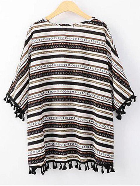 T-shirt à col rond et bas à manches 3/4 imprimé de motif ethnique - Noir Taille Unique(S'adap Mobile