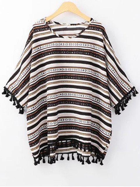 outfit Ethnic Print Scoop Neck 3/4 Sleeve T-Shirt - BLACK ONE SIZE(FIT SIZE XS TO M) Mobile