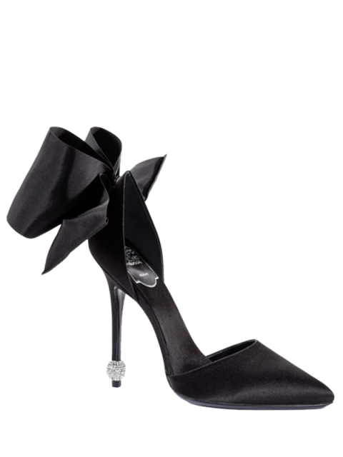 Bow Two-Piece Pointed Toe Pumps - Noir 39 Mobile