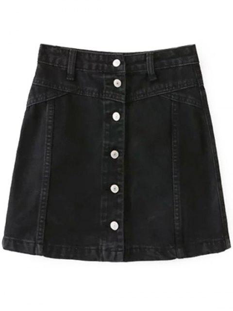 outfits A Line Button Up Denim Skirt - BLACK M Mobile