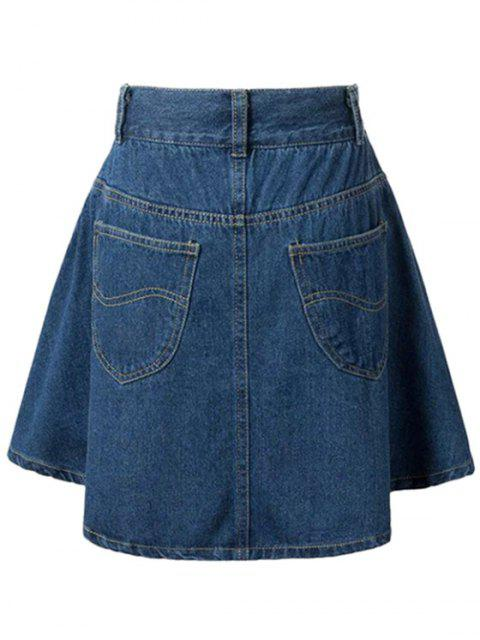 new A-Line Pocket Design Mini Skirt - DEEP BLUE M Mobile
