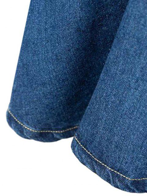hot A-Line Pocket Design Mini Skirt - DEEP BLUE L Mobile